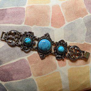 1960s Vintage Florenza Style Turquoise Bracelet